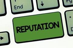 Tekstteken die Reputatie tonen De conceptuele Adviezen van fotogeloven die over het algemeen over iemand iets worden gehouden stock fotografie