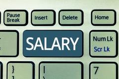 Tekstteken die Salaris tonen De conceptuele foto bevestigde regelmatige betalings typisch betaald maandelijkse basis voor vaste p royalty-vrije stock fotografie