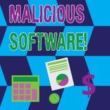 Tekstteken die Schadelijke software tonen Conceptuele foto de software die kwaad aan een computersysteem Gegevensverwerking breng vector illustratie