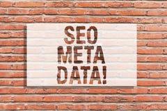 Tekstteken die Seo Meta Data tonen Het conceptuele de Optimalisering van de fotozoekmachine Online marketing art. van de strategi royalty-vrije stock afbeeldingen