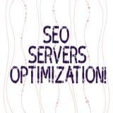 Tekstteken die Seo Servers Optimization tonen Conceptueel fotoseo netwerk die bij maximum Gebogen efficiencyverticaal werken vector illustratie