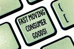 Tekstteken die snel Bewegende Consumptiegoederen tonen Conceptueel foto Hoog volume van kleinhandels het Toetsenbordsleutel van h royalty-vrije stock foto