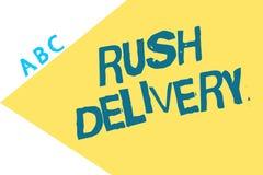 Tekstteken die Spoedlevering tonen Conceptuele fotourgentie in het vervoeren van goederen aan klanten Dringende behoefte stock illustratie