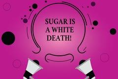 Tekstteken die Sugar Is een Witte Dood tonen De conceptuele fotosnoepjes zijn gevaarlijk diabetes waakzaam ongezond voedsel Twee  royalty-vrije illustratie
