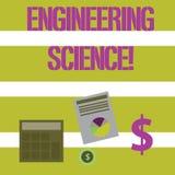 Tekstteken die Techniekwetenschap tonen De conceptuele foto behandelt fysieke en wiskundige basis van techniek royalty-vrije illustratie