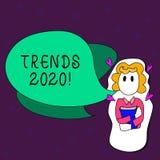 Tekstteken die Tendensen 2020 tonen Conceptuele foto algemene richting waarin iets ontwikkelt of Meisje verandert stock illustratie