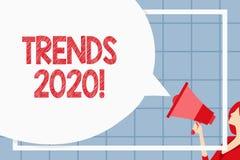 Tekstteken die Tendensen 2020 tonen Conceptuele foto algemene richting waarin iets zich ontwikkelt of Reusachtig verandert vector illustratie