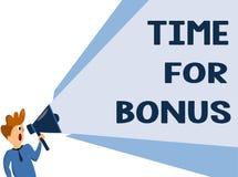 Tekstteken die Tijd voor Bonus tonen De conceptuele foto een som geld voegde aan persoons\ 's lonen toe als beloning royalty-vrije illustratie
