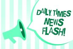 Tekstteken die Daily Times-Kort nieuwsbericht tonen De conceptuele foto snelle reactie op acties gebeurde in de Megafoon van de a stock illustratie