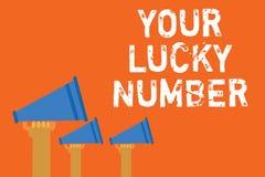 Tekstteken die Uw Lucky Number tonen Conceptuele foto die in van de de Verhogingskans van het brievenfortuin het Casinoaankondigi royalty-vrije illustratie