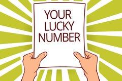 Tekstteken die Uw Lucky Number tonen Conceptuele foto die in van de de Verhogingskans van het brievenfortuin het Casinodocument p vector illustratie
