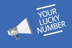 Tekstteken die Uw Lucky Number tonen Conceptuele foto die in van de de Verhogingskans van het brievenfortuin de waarschuwing van  royalty-vrije illustratie