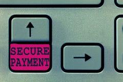 Tekstteken die Veilige Betaling tonen De conceptuele fotoveiligheid van Betaling verwijst om van betaald zelfs in geschil te verz stock afbeelding