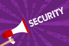 Tekstteken die Veiligheid tonen Conceptuele foto de staat van het voelen van veilige stabiel en vrij van vrees of gevaars de Mega vector illustratie