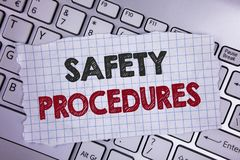 Tekstteken die Veiligheidsprocedures tonen De conceptuele foto volgt regels en verordeningen voor geschreven werkplaatsveiligheid royalty-vrije stock afbeelding