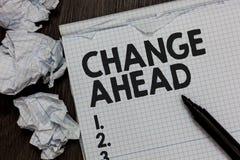 Tekstteken die Verandering vooruit tonen Conceptuele foto Sommige wijzigingen die wachten te gebeuren Perspectief Reserveteller o stock afbeelding