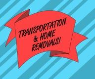 Tekstteken die Vervoer en Huisverwijderingen tonen Conceptueel het nieuwe huis Gevouwen 3D Lint van foto Bewegend verschepend pak royalty-vrije illustratie