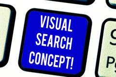 Tekstteken die Visueel zoekenconcept tonen Conceptuele foto op waarneming gebaseerde taak die aandacht voor een objecten Toetsenb royalty-vrije stock fotografie