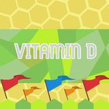 Tekstteken die Vitamine D tonen Conceptuele fotovoordelen van zonnestraalblootstelling en bepaalde in vet oplosbare voedingenspat stock illustratie