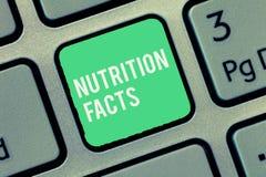 Tekstteken die Voedingsfeiten tonen Conceptuele foto Gedetailleerde informatie over de voedingsmiddelen van het voedsel stock afbeelding