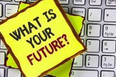Tekstteken die wat tonen Uw Toekomstige Vraag is Conceptuele foto waar u zich in de volgende die jaren ziet op Kleverig worden ge stock afbeelding