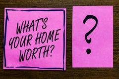 Tekstteken die Welk s tonen Uw Huis met een waarde van vraag is Conceptuele fotowaarde van een Kostprijs Rate Violet van het huis stock illustratie