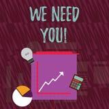 Tekstteken die wensen wij u tonen Conceptuele foto die iemand vragen om voor bepaalde baan of doelinvestering samen te werken stock illustratie