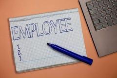 Tekstteken die Werknemer tonen Het conceptuele foto aantonen aangewend voor lonensalaris vooral op niet uitvoerend niveau stock afbeelding