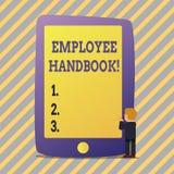 Tekstteken die Werknemershandboek tonen Conceptuele de Verordeningen van het fotodocument Hand het Beleidscode van de Regelshandl stock foto