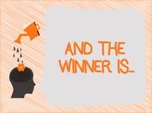 Tekstteken het tonen en de Winnaar zijn Conceptuele foto die wie aankondigen de Kampioen Exemplar Uitvoerder is vector illustratie