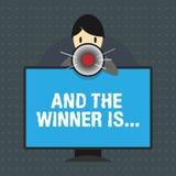 Tekstteken het tonen en de Winnaar zijn Conceptuele foto die wie aankondigen de Kampioen Exemplar Uitvoerder is royalty-vrije illustratie