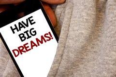 Tekstteken het tonen heeft Grote Dromen Motievenvraag Conceptuele foto Toekomstige Ambitie Desire Motivation Goal Words geschreve stock illustratie