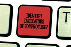 Tekstteken het tonen identificeert Indicatoren van Compromis E stock foto