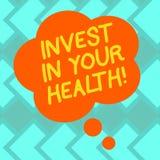 Tekstteken het tonen investeert in Uw Gezondheid De conceptuele foto besteedt geld in de demonstratingal Lege Kleur van gezondhei stock illustratie