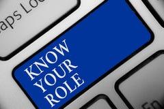 Tekstteken het tonen kent Uw Rol De conceptuele foto duidelijk is van verantwoordelijkheden één in een baan of situatietoetsenbor stock illustratie