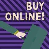 Tekstteken het tonen koopt online Conceptuele fotoe-commerce die consumenten toestaat om goederen het Meeslepen direct te kopen royalty-vrije illustratie
