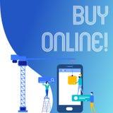 Tekstteken het tonen koopt online Conceptuele fotoe-commerce die consumenten toestaat om goederenpersoneel direct te kopen royalty-vrije illustratie
