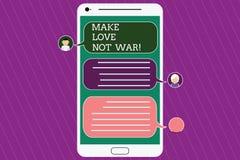 Tekstteken het tonen maakt Liefde niet Oorlog De conceptuele foto vecht niet tegen elkaar heeft Mobiele vrede en affectie vector illustratie