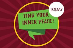 Tekstteken het tonen vindt Uw Binnenvrede De conceptuele foto Vreedzame stijl van de Meditatie van het het levenspositivisme vouw stock illustratie