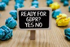 Tekstteken tonen Klaar voor Gdpr vraagt ja Nr Conceptuele de Gegevensbeschermingverordening van de fotobereidheid Algemene de gre royalty-vrije stock foto