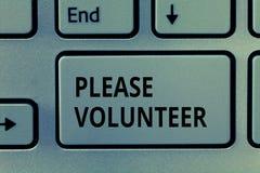 Tekstteken Vrijwilliger gelieve te tonen Conceptuele foto die iemand zoeken wie zonder wordt betaald werkt royalty-vrije stock foto's