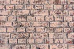 Tekstura ściana z cegieł z pęknięciami i narysami które mogą używać jako tło fotografia stock