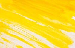 Tekstura żółta watercolour farba Horyzontalny tło z akwareli muśnięcia uderzeniami obraz stock