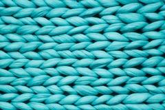 Tekstura błękitna dzianiny koc Wielki dzianie Szkocka krata merynosów wełna Odgórny widok obrazy stock