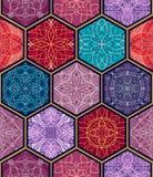 tekstura bezszwowy wektor Piękny mega patchwork mozaiki wzór dla projekta i mody z dekoracyjnymi elementami w sześciokącie kształ ilustracja wektor