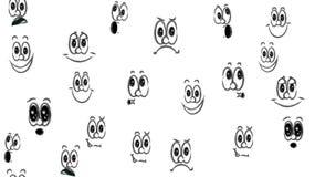 Tekstura bezszwowy wzór różnorodne czarny i biały emocje: radość, uśmiech, złość, zachwyt, malkontenctwo, figlarność, zabawa, nie ilustracji