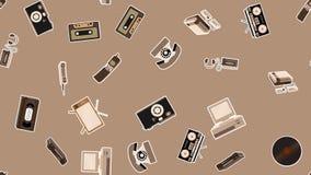 Tekstura, bezszwowy wzór starzy retro modniś elektronika majchery, tv pisaka telefon komórkowy, gracz, audio kaseta, wideo ilustracji