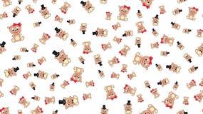 Tekstura bezszwowy wzór z pięknych rozochoconych świątecznych jaskrawych kolorowych barwionych niedźwiedzi dzieci ` s dżentelmenó ilustracji