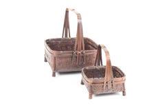 Tekstura brown bambusowy koszykowy duży mały na białym backgrou i Zdjęcia Royalty Free