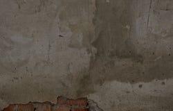 Tekstura cementowa ściana z łamanym kawałkiem Czerwone cegły Fotografia Stock